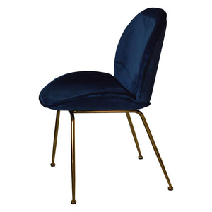 Set of 2 Paoluccio Navy Velvet Dining Chair - Notbrand