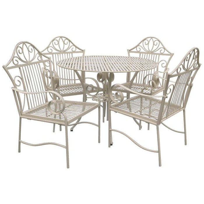 5 Piece Lotus Wrought Iron Outdoor Dining Table and Chairs Set