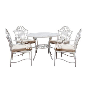 5 Piece Lotus Wrought Iron Outdoor Dining Table and Chairs Set - Notbrand