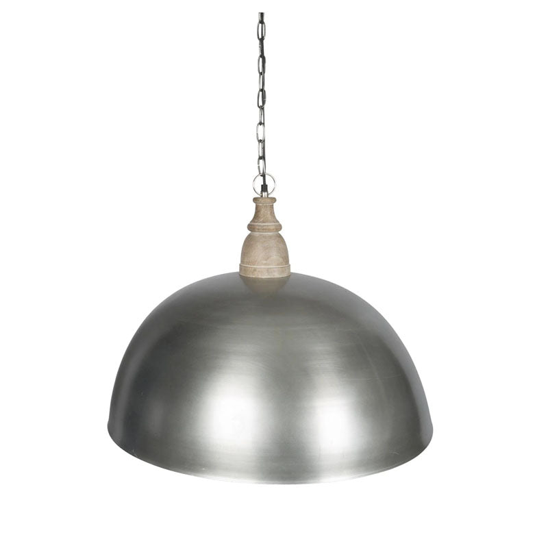 Large Iron Dome Pendant Lamp with Wood Top - Notbrand