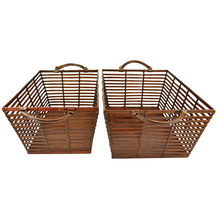 Esquire Set of 2 Tan Leather Laundry Basket - Notbrand