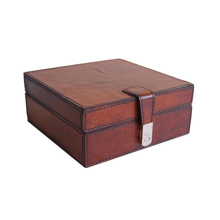 Tan Leather Square Storage Box - Notbrand