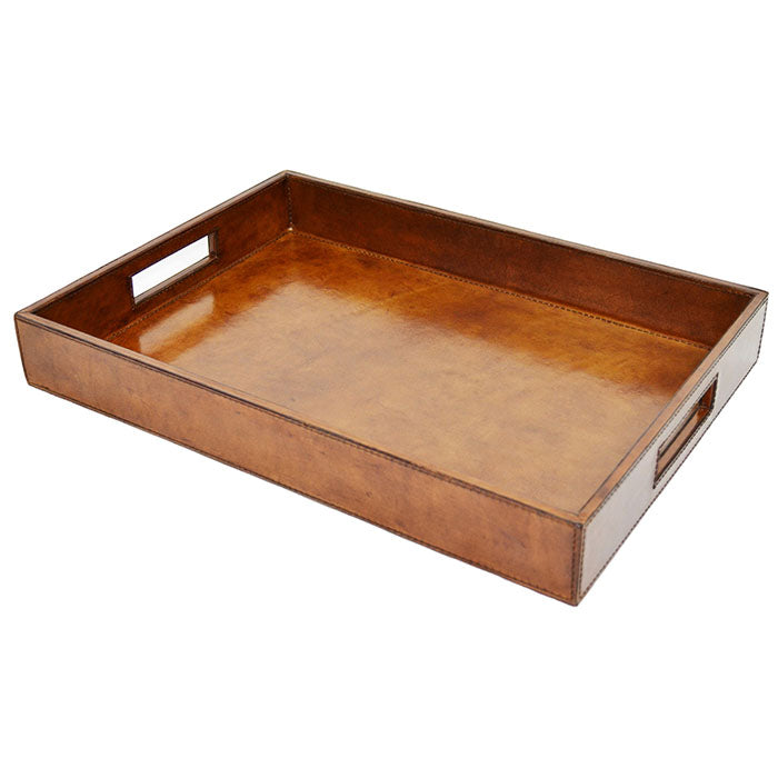 Cumulus Tan Leather Square Tray - Notbrand
