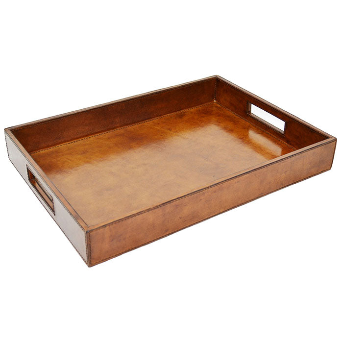 Goku Tan Leather Square Tray