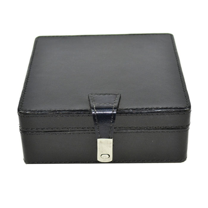Black Leather Square Storage Box - Notbrand