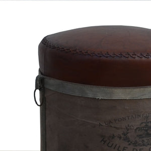 French Canvas Leather Perfume Ottoman - Notbrand
