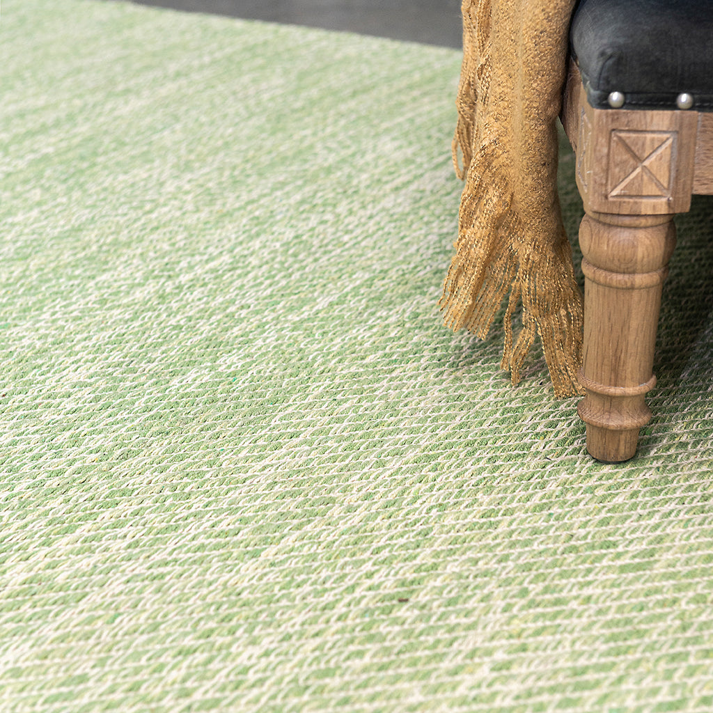 Lima Green Cotton Flatweave Rug