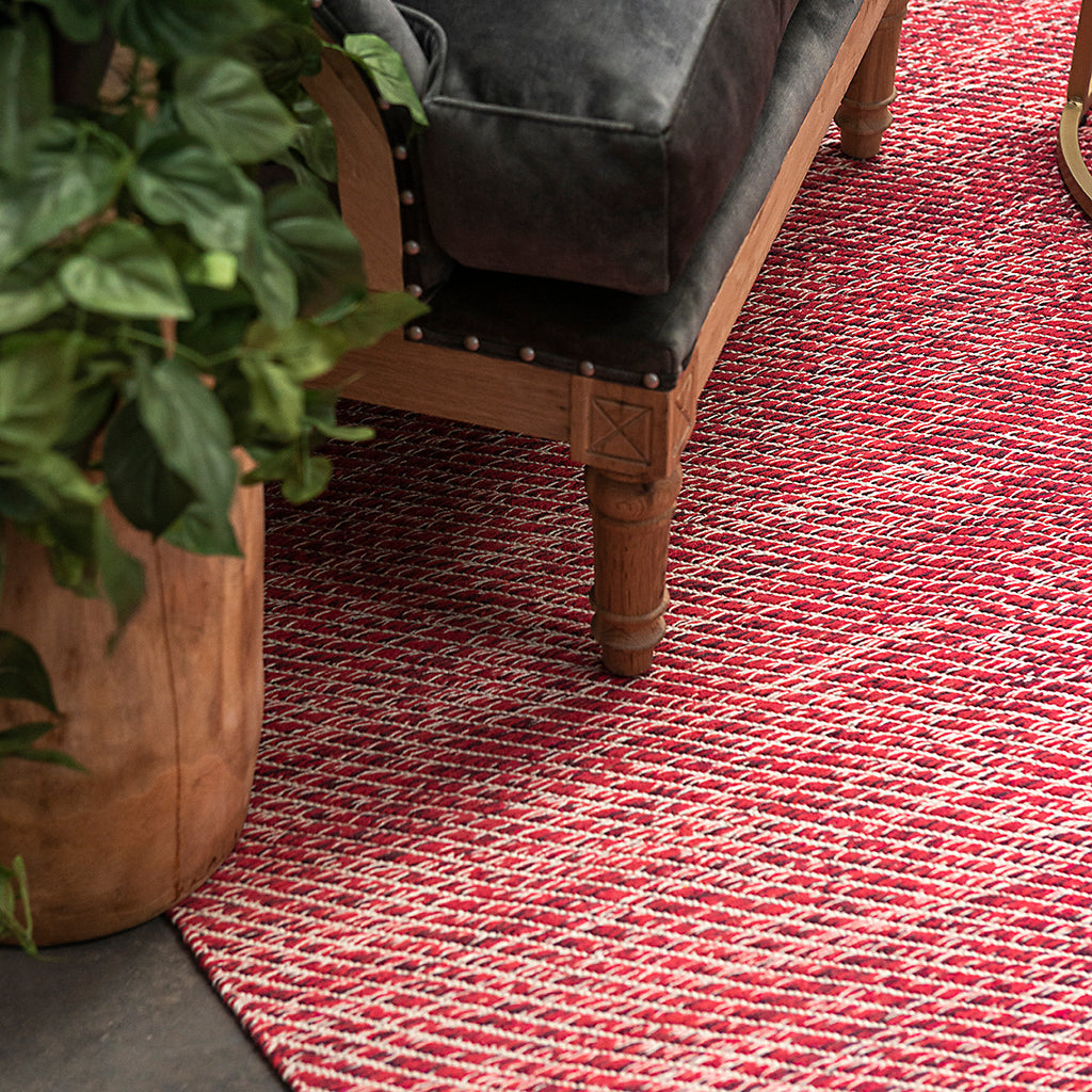 Lima Red Cotton Flatweave Rug - Notbrand
