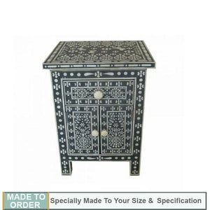 Lina Bone Inlay Side Table Butterfly Design Black - Notbrand