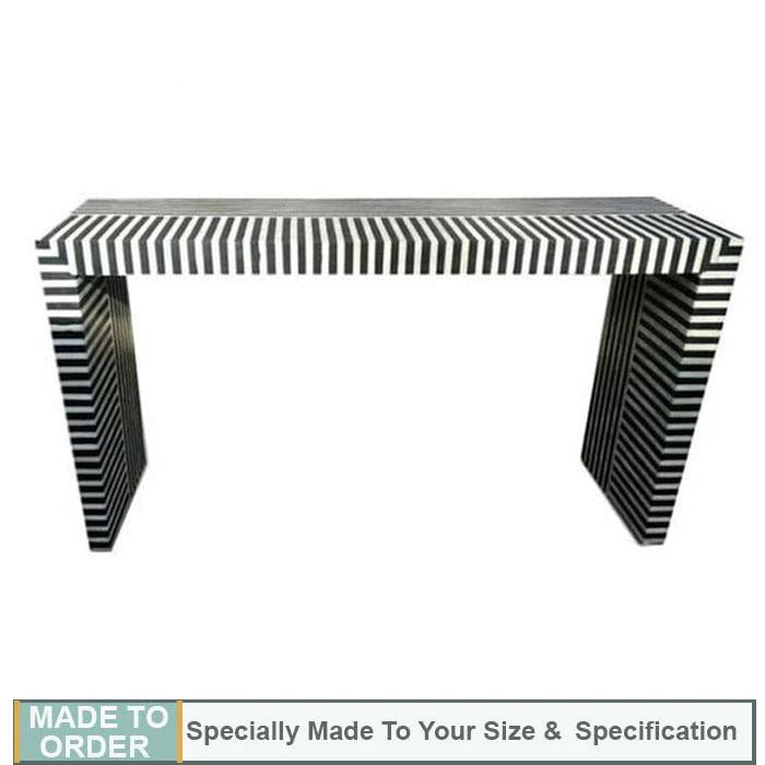 Logan+Zebra+Design+Bone+Inlay+Console+Table+Black