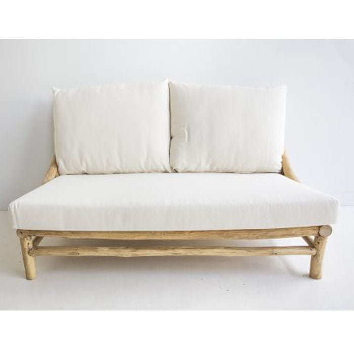Paisley Teak Wood Two Seater Sofa - Notbrand