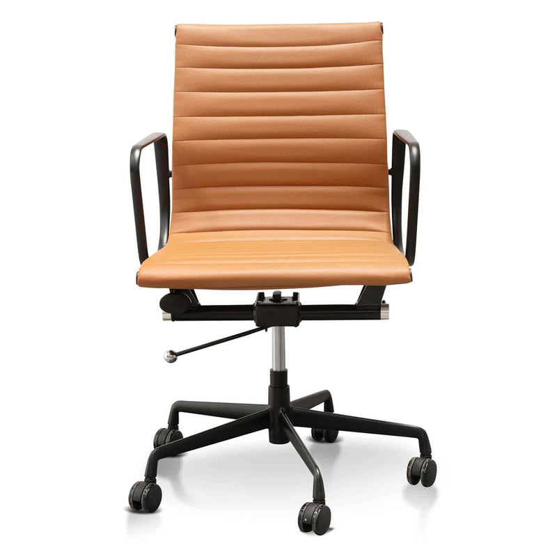 Achillea Low Office Chair - Saddle Tan in Black Frame - Notbrand