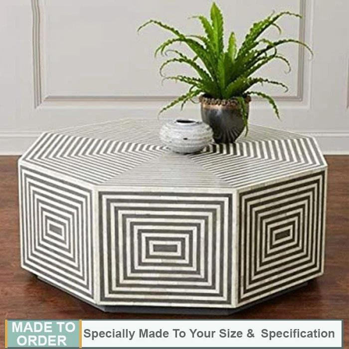 Lydia+Octagonal+Bone+Inlay+Coffee+Table+Stripe+Design+Black