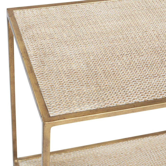 Manhattan Rattan Side Table Gold - Notbrand