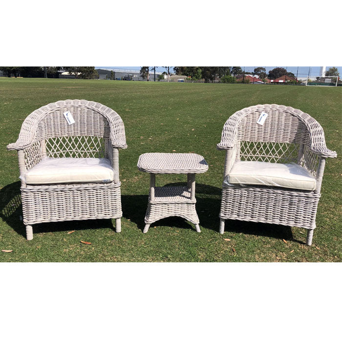 3 Piece Marseille Natural KUBU Wicker Lounge Setting - Notbrand