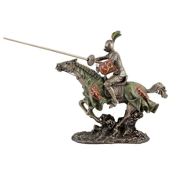 Medieval Knight Jousting Bronze Figurine