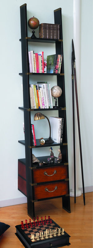 Library Ladder Shelf with Drawers Black - Notbrand