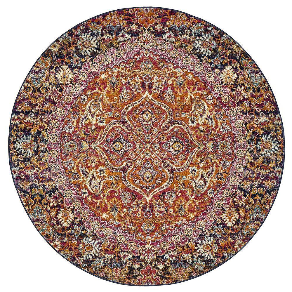 Museum Preston Multi Coloured Round Rug - Notbrand