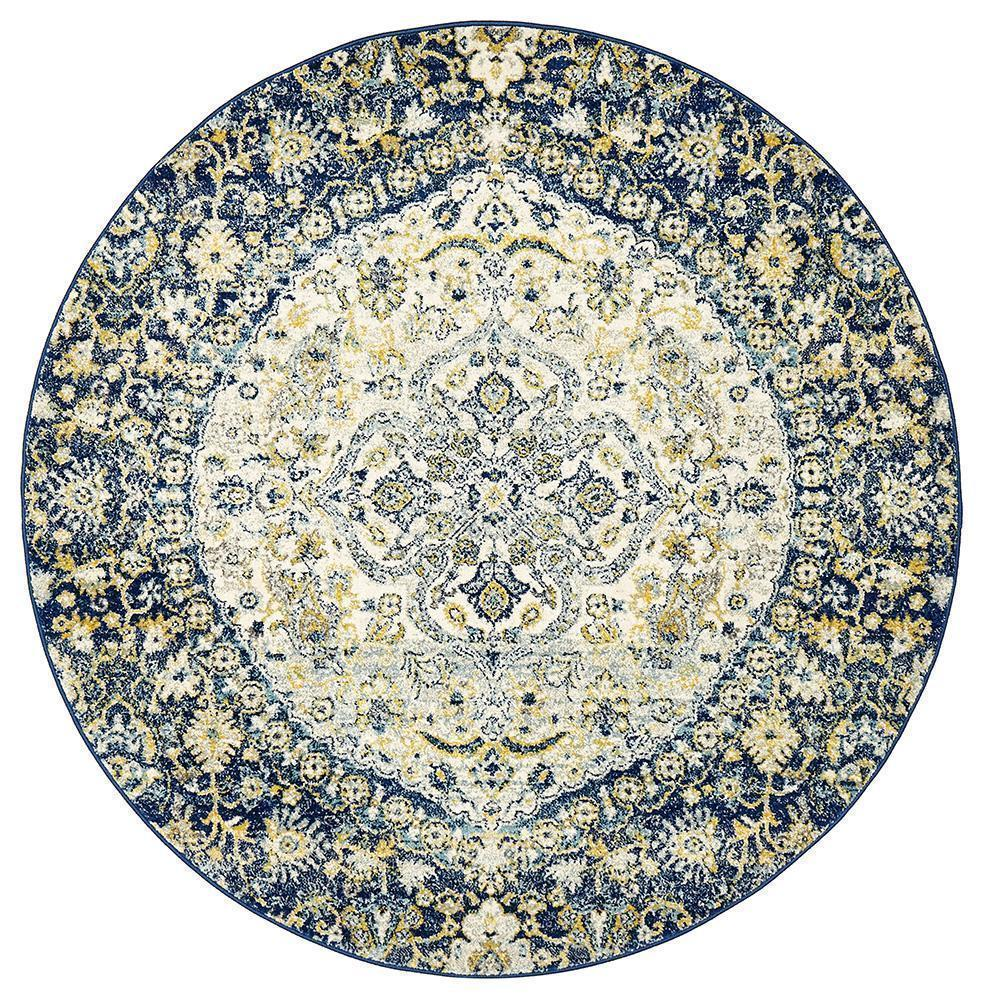 Museum Ruthy Navy Round Rug