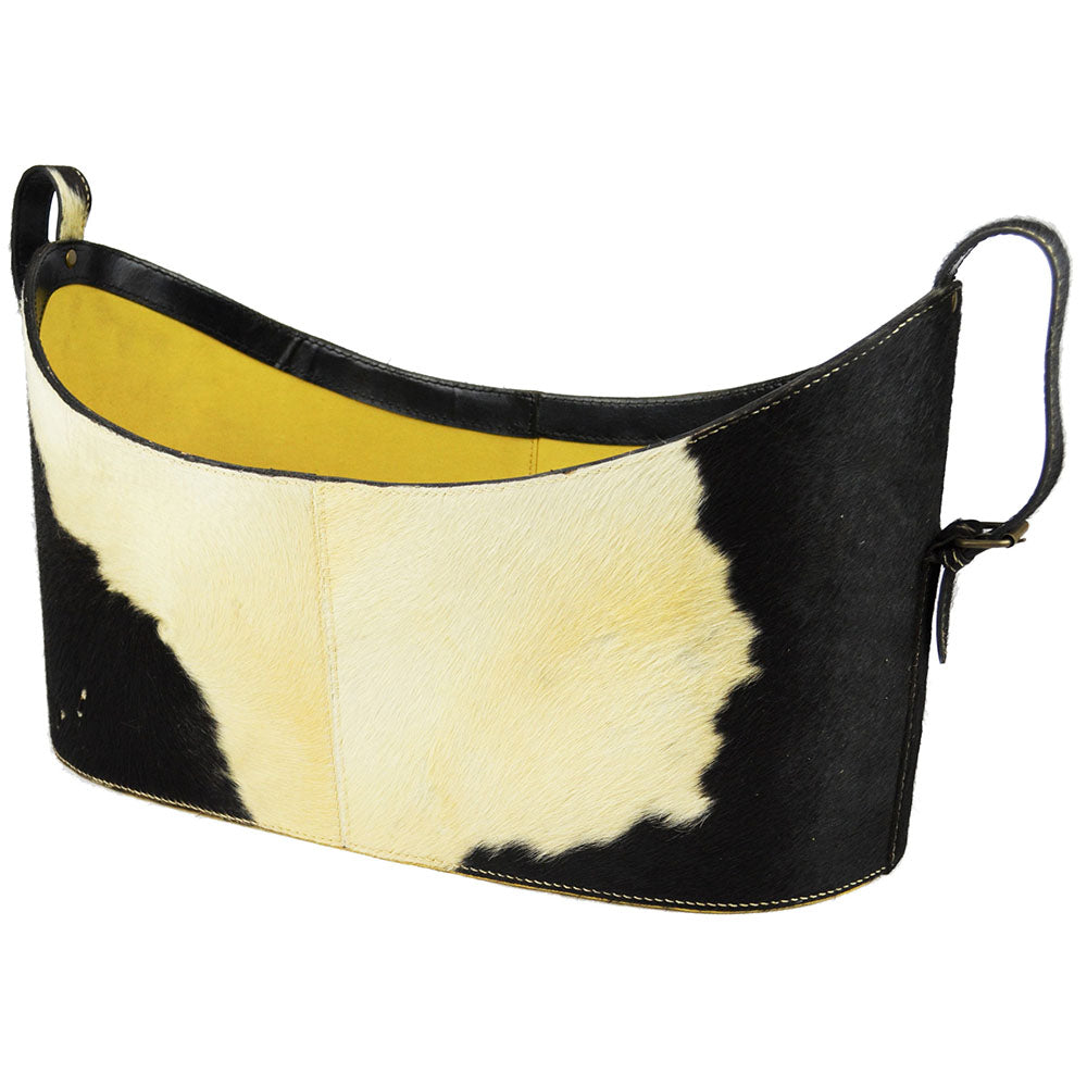 Boat Neck Scoop Fur Leather Magazine Basket - Notbrand