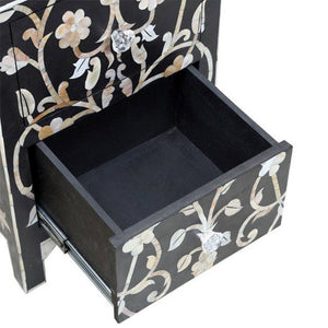 Malava Design Mother of Pearl Inlay Black Bedside Table - Notbrand