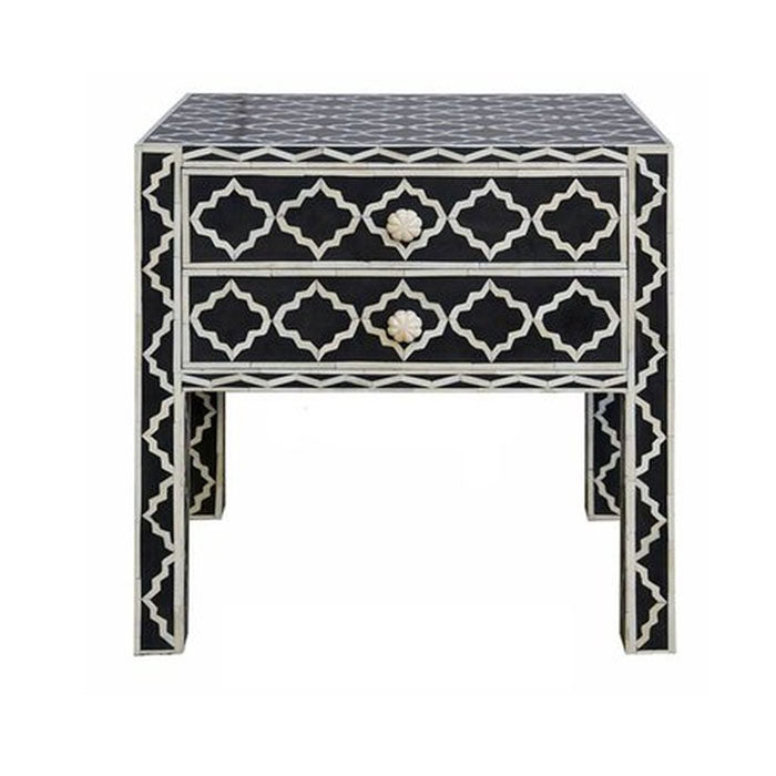 Marrakech Design Bone Inlay Bedside Table Black - Notbrand