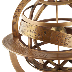 Medium Brass Armillary Sphere - 280mm - Notbrand