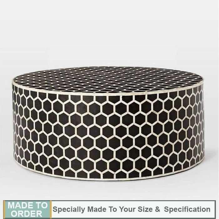 Mia+Honey+Comb+Design+Bone+Inlay+Round+Coffee+Table+Black