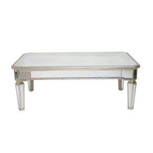 Antique Ribbed Mirrored Rectangular Coffee Table - Notbrand