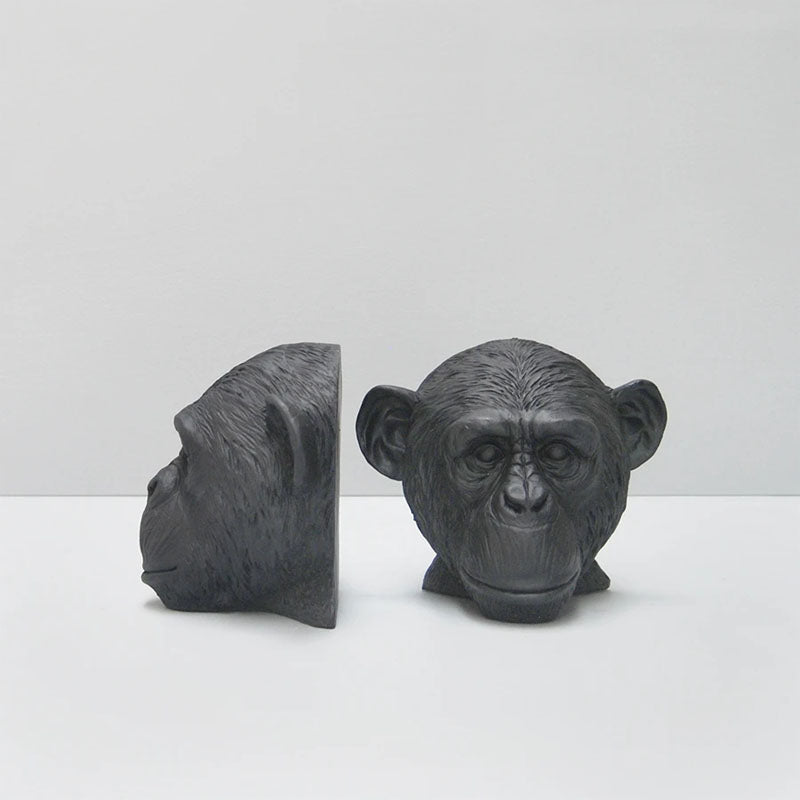 Set of 2 Monkey Head Bookends - Black - Notbrand