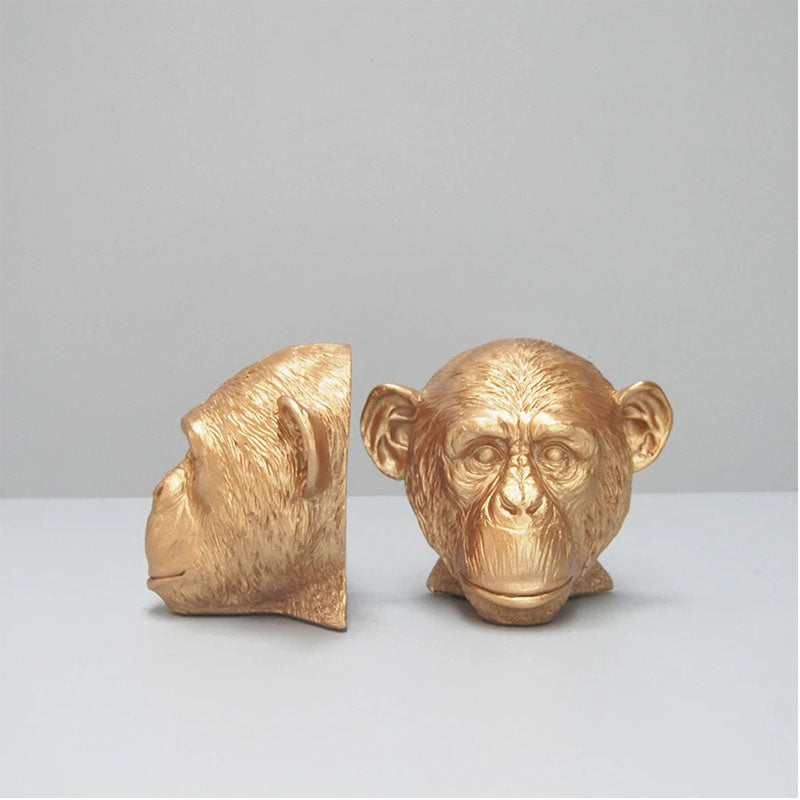 Set of 2 Monkey Head Bookends - Gold - Notbrand