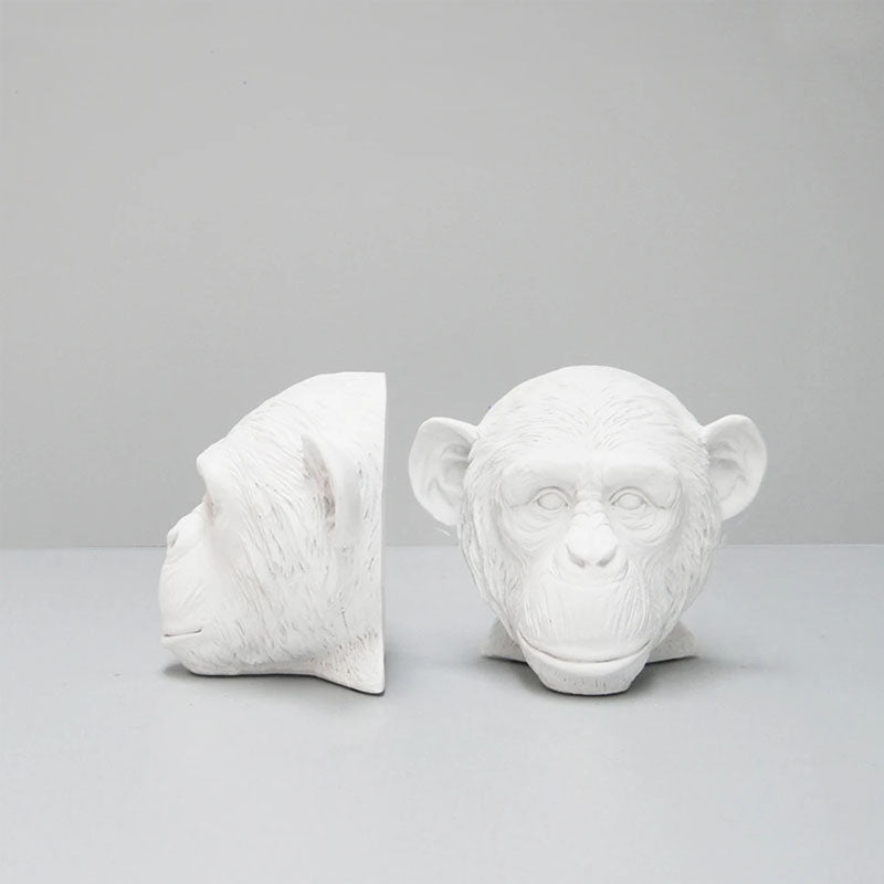 Set of 2 Monkey Head Bookends - White - Notbrand