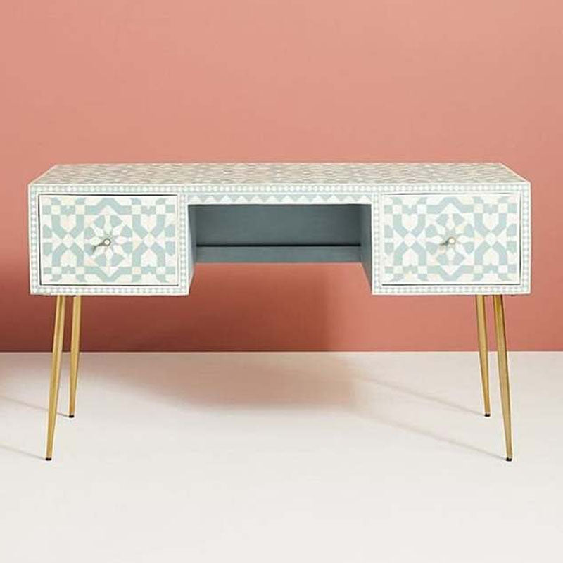 Moroccan Bone Inlay Console / Desk in Light Green - Notbrand