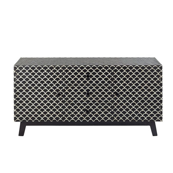 Sansa Mother Of Pearl 2 Door 3 Drawer Fish Scale Buffet Sideboard Black - Notbrand
