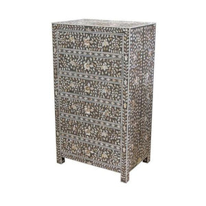 Nova Mother Of Pearl Chest of 6 Drawers Tall Boy Grey - Notbrand