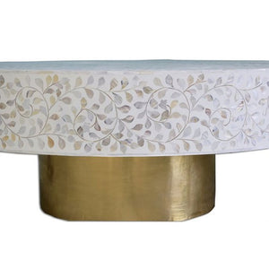 Evelyn Mother of Pearls Inlay Coffee Table Floral Design Brass Base - Notbrand