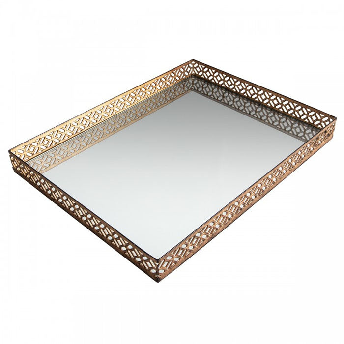 Azariah Aged Champagne Mirror Tray - Notbrand