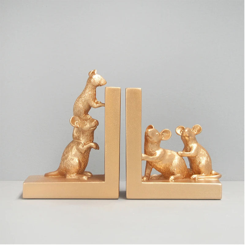 Set of 2 Mouse Bookends - Gold - Notbrand