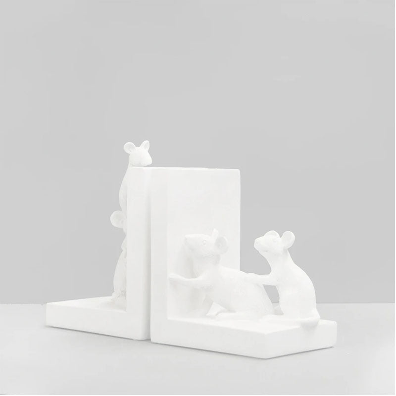 Set of 2 Mouse Bookends - White - Notbrand