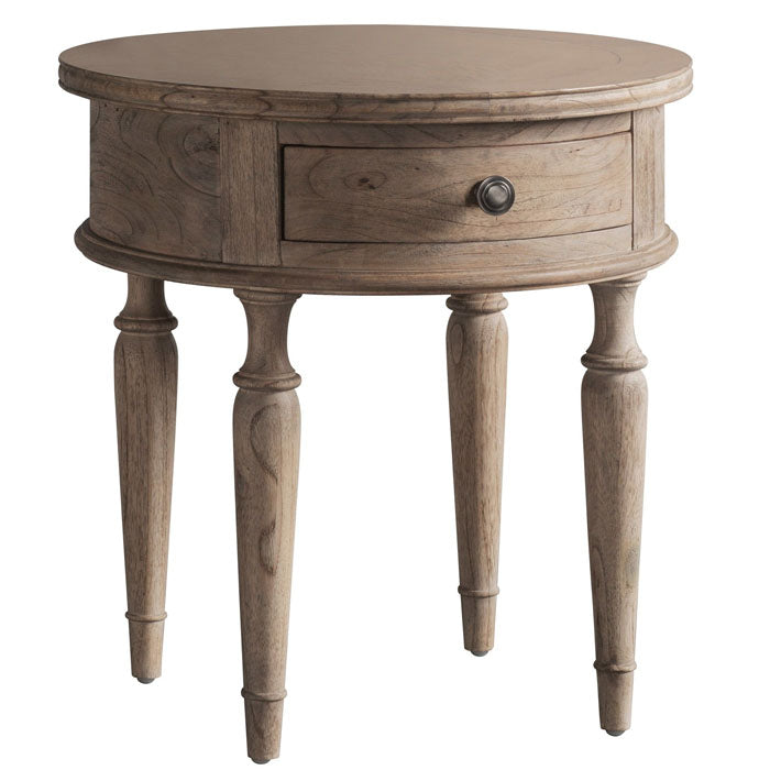 Mustique Round 1 Drawer Side Table - Notbrand