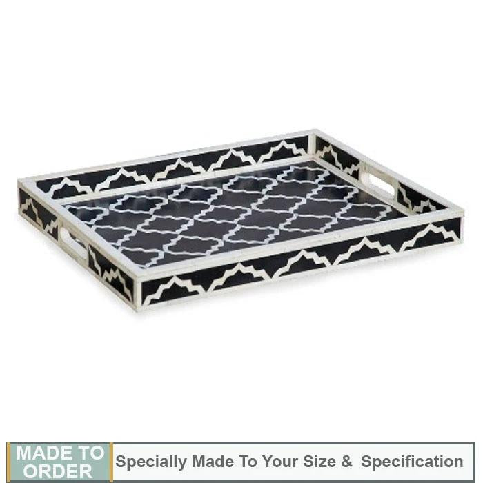 Myra Black Rectangle Moroccan Pattern Bone Inlay Tray - Notbrand