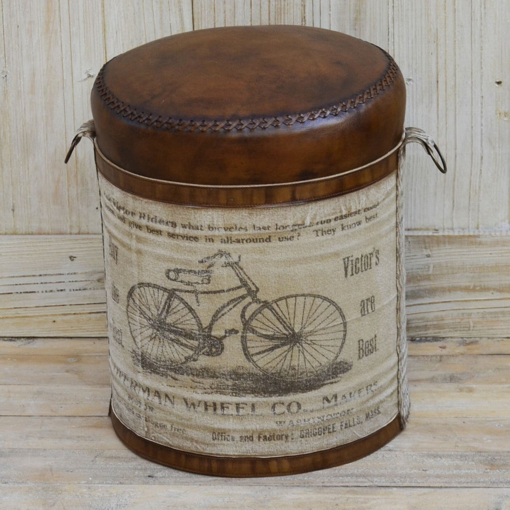 Cylindrical Bicyle Leather Ottoman - Notbrand