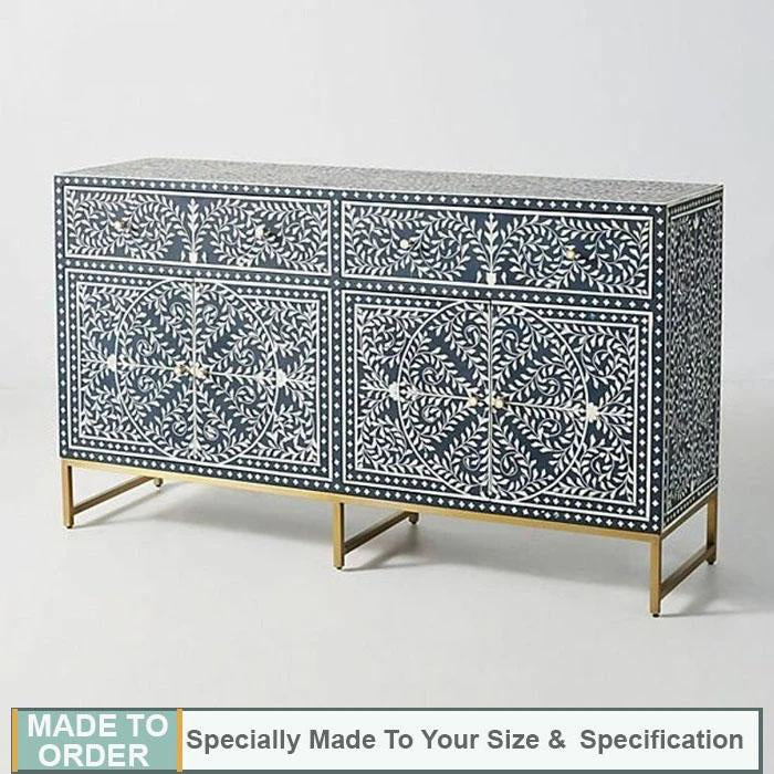 Nicole+Scroll+Vine+Bone+Inlay+Buffet+Sideboard+Blue