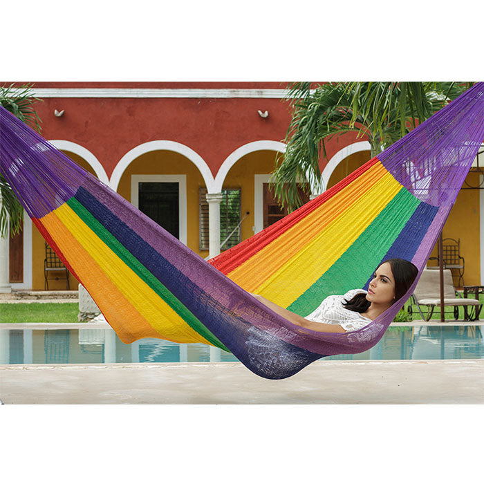 Nylon Mexican Hammock Rainbow Colour - Notbrand