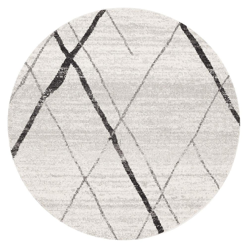 Oasis Noah White Grey Contemporary Round Rug - Notbrand