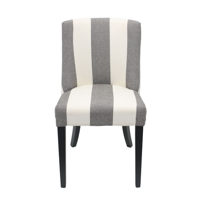 Ophelia Chrome Ring Dining Chair Black & White Wide Stripe