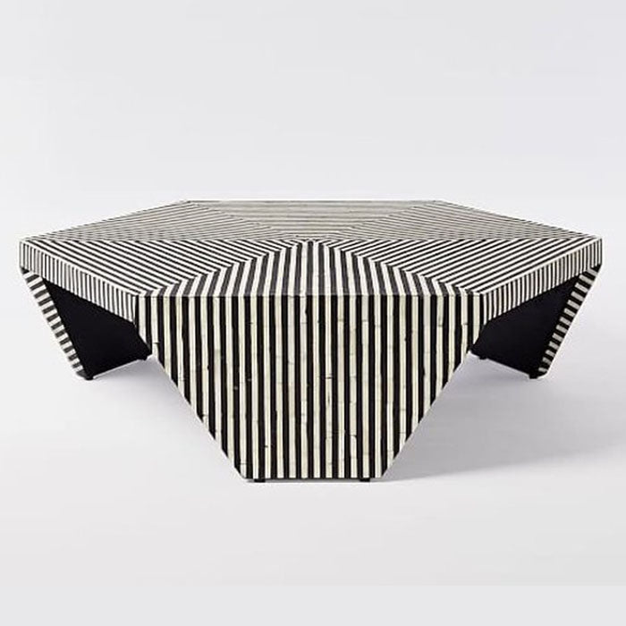 Javiar Optical Strip Pattern Hexagonal Bone Inlay Coffee Table Black - Notbrand