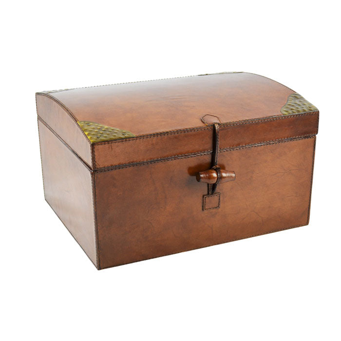 Tan Leather Oval Top Box - Notbrand
