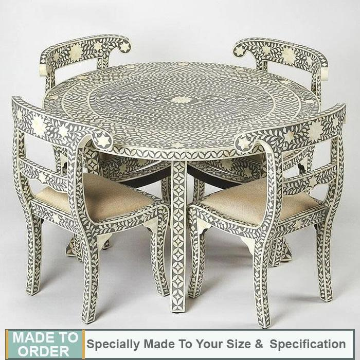 Pablo Bone Inlay Geometric Pattern Dining Table and Four Chair - Notbrand