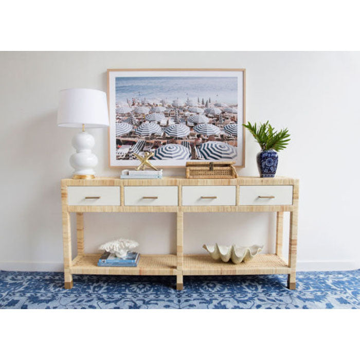 Justus Four Drawer Rattan Console Table - Notbrand